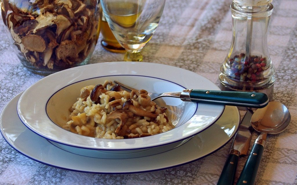 Mushroom risotto for pairing with Setúbal wine